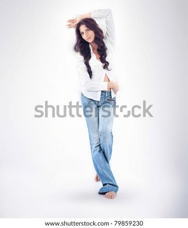 Beautiful young women, white backgorund - stock photo