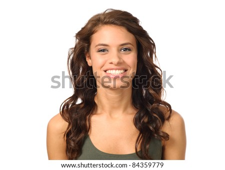 Beautiful young women with toothy smile on white background - stock photo
