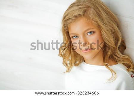 beautiful young young little girl - stock photo