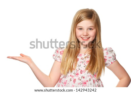 beautiful youth girl presenting copy space - stock photo