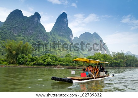Beautiful Yu Long river Karst mountain landscape in Yangshuo Guilin, China