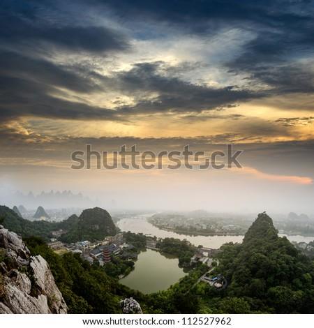 Beautiful Yu Long river Karst mountain landscape in Yangshuo Guilin, China - stock photo