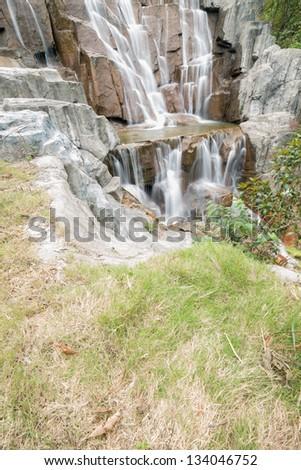 Beautiful Zen Garden Waterfall In Slow Shutter