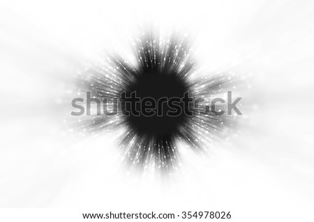 Beautiful zoom particles or motion particle into space in black and white color.