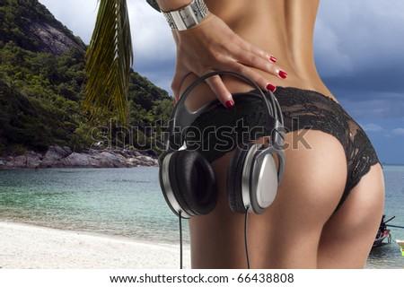 beautifull beach & beautifull ass - stock photo