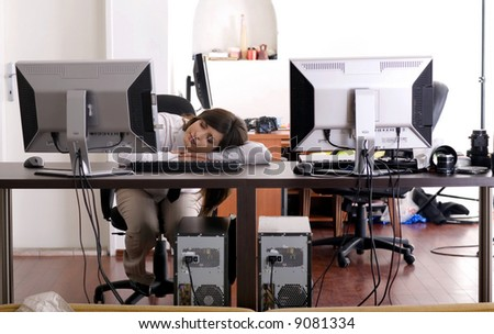 Beautifull business woman tired at work