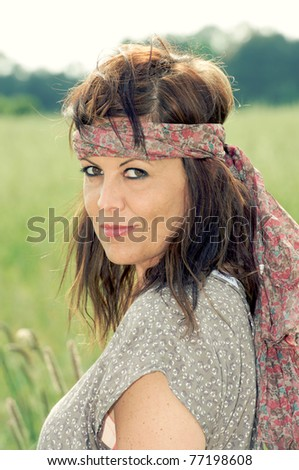 beautifull girl outdoor - stock photo