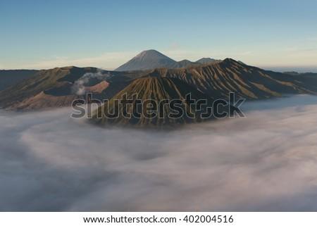 Beautifull mountain in the morning mist , Mt.Bromo in Tengger Semeru National Park, East Java, Indonesia - stock photo