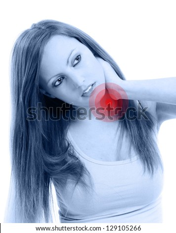 Beautifull woman  holding her neck because of pain, isolated on white background - stock photo