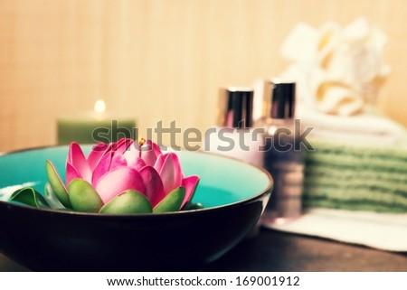 Beautifully arranged spa elements. - stock photo