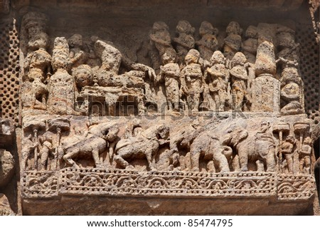 Beautifully carved courtly scene and war horses and elephants, Sun Temple, Konark