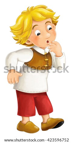 Beautifully colored cartoon character - young man watching something interested - isolated - illustration for children