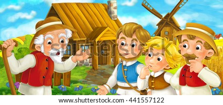 Beautifully colored scene with cartoon character - old man standing and talking or greeting someone - group of people - windmill in the background - illustration for children - stock photo