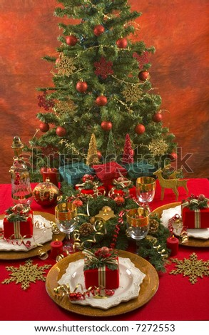Beautifully decorated Christmas setting(Christmas dinner)