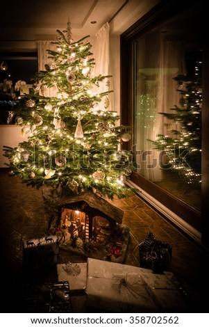 Beautifully decorated Christmas tree  - stock photo