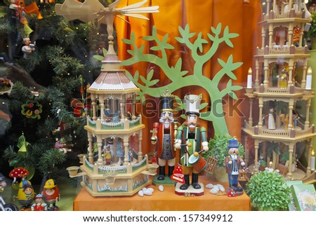 Beautifully decorated Christmas window, displaying hand made wooden decorations in Belgium, Europe