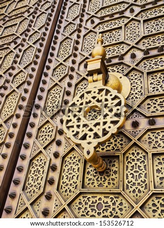 Beautifully decorated Moroccan Doors of the Hassan Mosque in Rabat, Morocco, Africa - stock photo