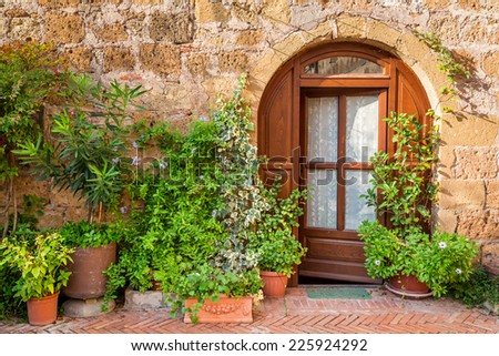 Beautifully decorated porch in Tuscany - stock photo