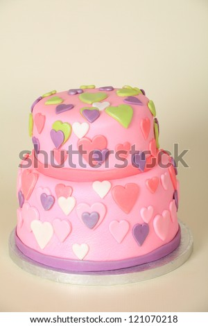 Beautifully Decorated Round Double Tier Birthday Stock Photo