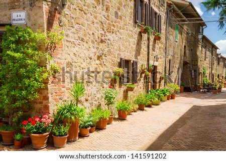 Beautifully decorated street in the old town in Italy - stock photo