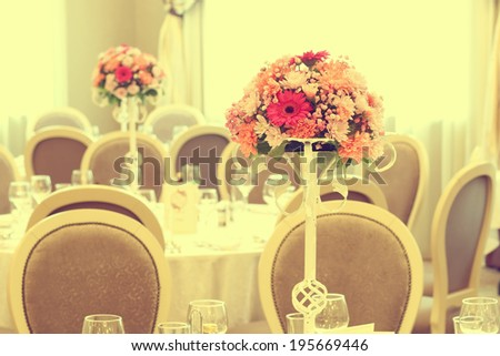 Beautifully decorated wedding table - stock photo