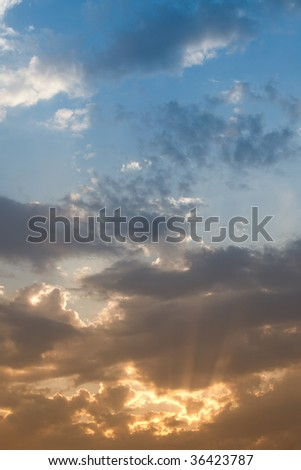 Beautifully Dramatic Sunrise or Sunset with Clouds.