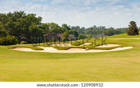 Beautifully landscaped Florida golf course - stock photo
