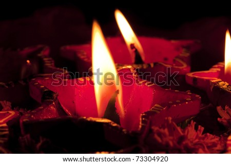 Beautifully Lit Lamps for the Hindu Diwali festival - stock photo