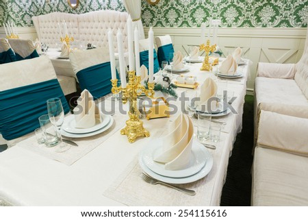Beautifully organized event - served banquet table ready for guests - stock photo