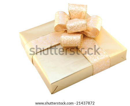 Beautifully packed golden gift box isolated on white - stock photo