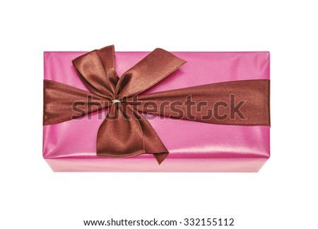 Beautifully packed surprise, gift, claret, wine color, isolated on the white