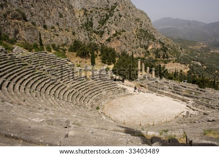 Beautifully preserved theater in Delphi, Greece