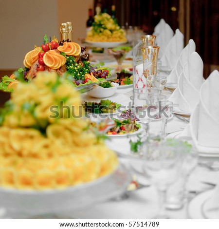 beautifully served dinner table in a restaurant - stock photo