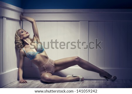 Beauty alluring young woman in sexy lingerie - stock photo