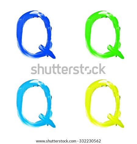 """Beauty alphabet set - blue, green and yellow dye letters isolated on white background. """"Q"""" letter. - stock photo"""