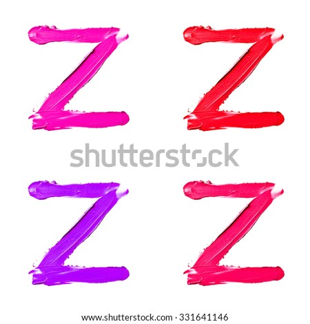 "Beauty alphabet set - red, violet and pink lipstick letters isolated on white background. ""Z"" letter. - stock photo"