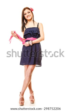 Beauty and fashion concept - young woman in full length, fashionable girl in summer dress and high heels