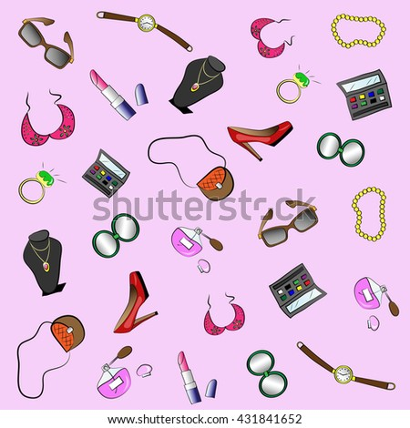 Beauty and fashion woman seamless pattern with accessories and cosmetics. Colored doodle hand-drawn illustration
