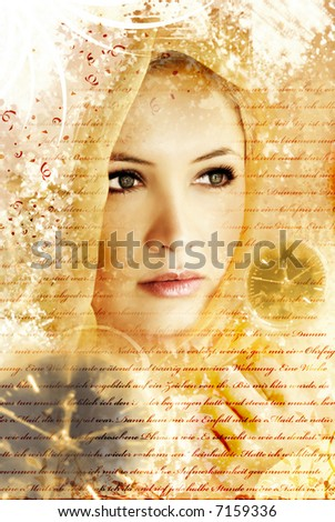 beauty and grunge portrait of a woman with letters and clocks - stock photo
