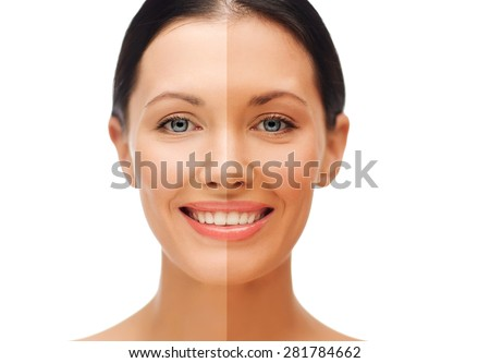 beauty and health concept - beautiful woman with half face tanned - stock photo