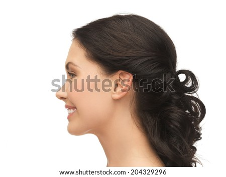 beauty and health concept - profile portrait of smiling young woman - stock photo