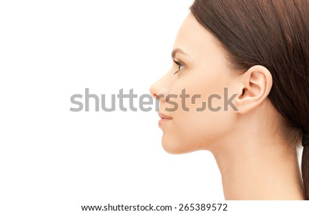 beauty and health concept - profile portrait of young woman - stock photo