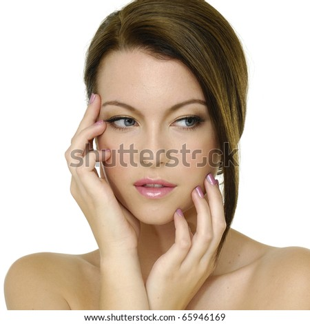 Beauty and health of young woman,isolated - stock photo