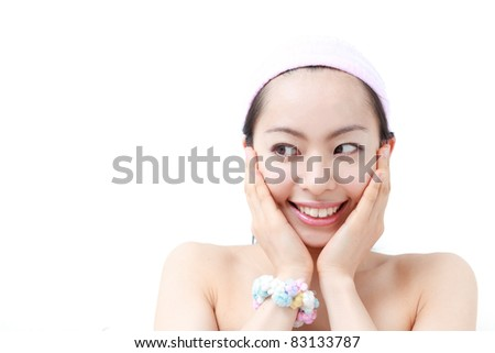 Beauty and health of young woman, isolated on white background - stock photo