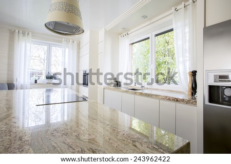 Beauty and luxury kitchen with marble worktop - stock photo