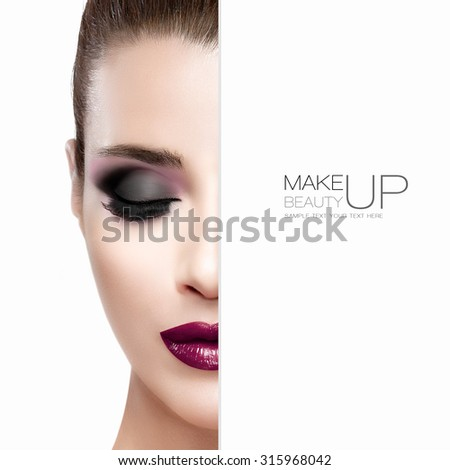 Beauty and Makeup concept with half face of a beautiful fashion model woman with black make-up. Perfect skin. Burgundy lips. Trendy eyelashes. Smoky eye. High fashion portrait isolated on white - stock photo