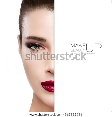 Beauty and Makeup concept with half face of a beautiful young woman. Perfect skin. Trendy burgundy lips and smoky eyes. Fashionable eyelashes. High fashion portrait isolated on white with sample text - stock photo