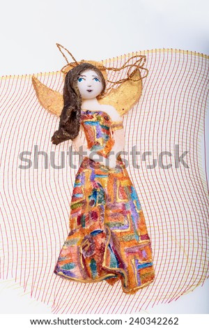 Beauty Angel  painted manually with acrylic paints  - stock photo