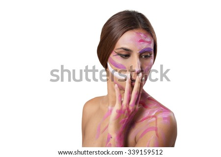 Beauty attractive woman with color makeup. - stock photo