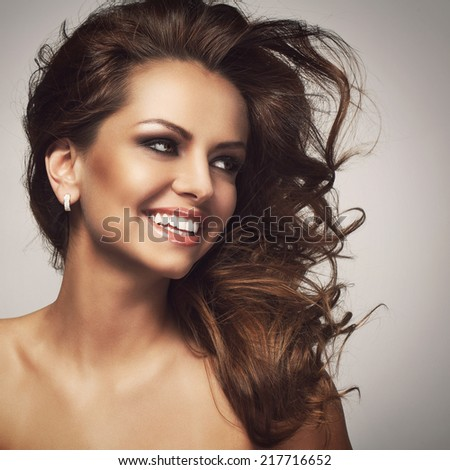 Beauty. Attractive woman with wide smile - stock photo